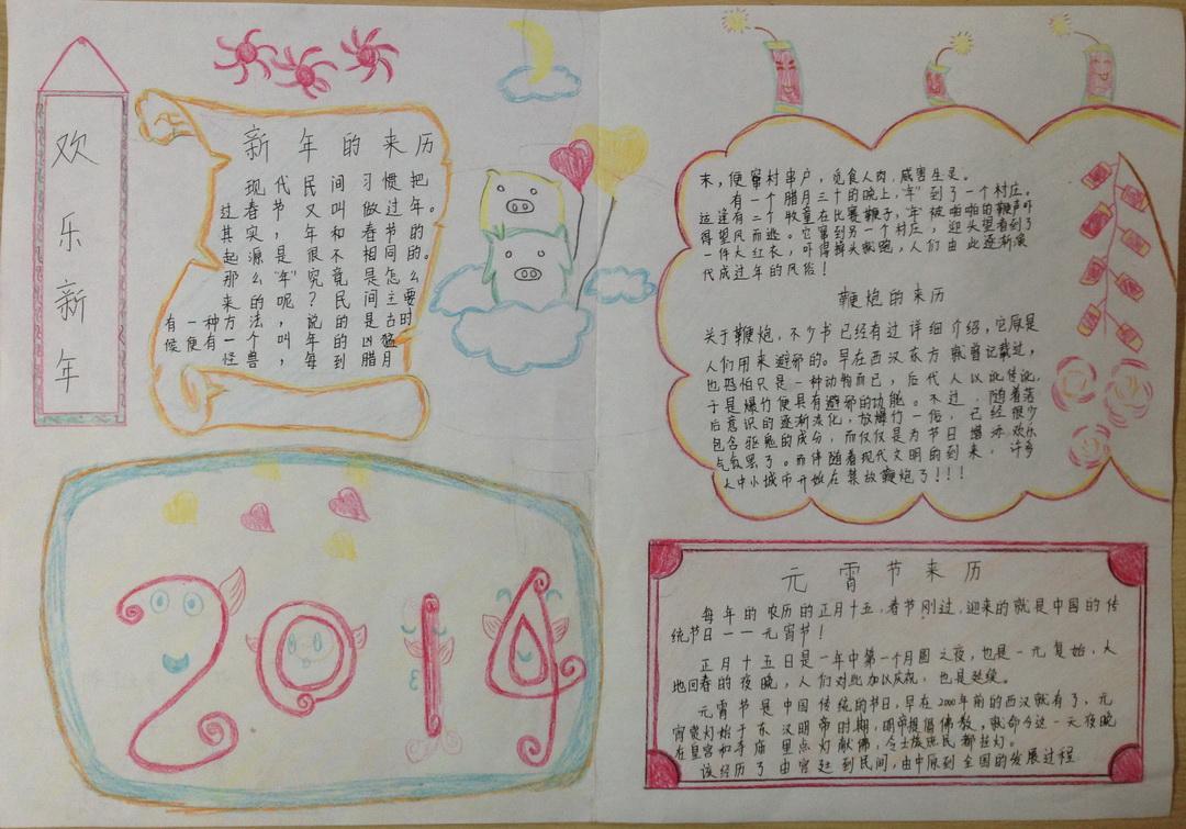 新年快乐手抄报一年级