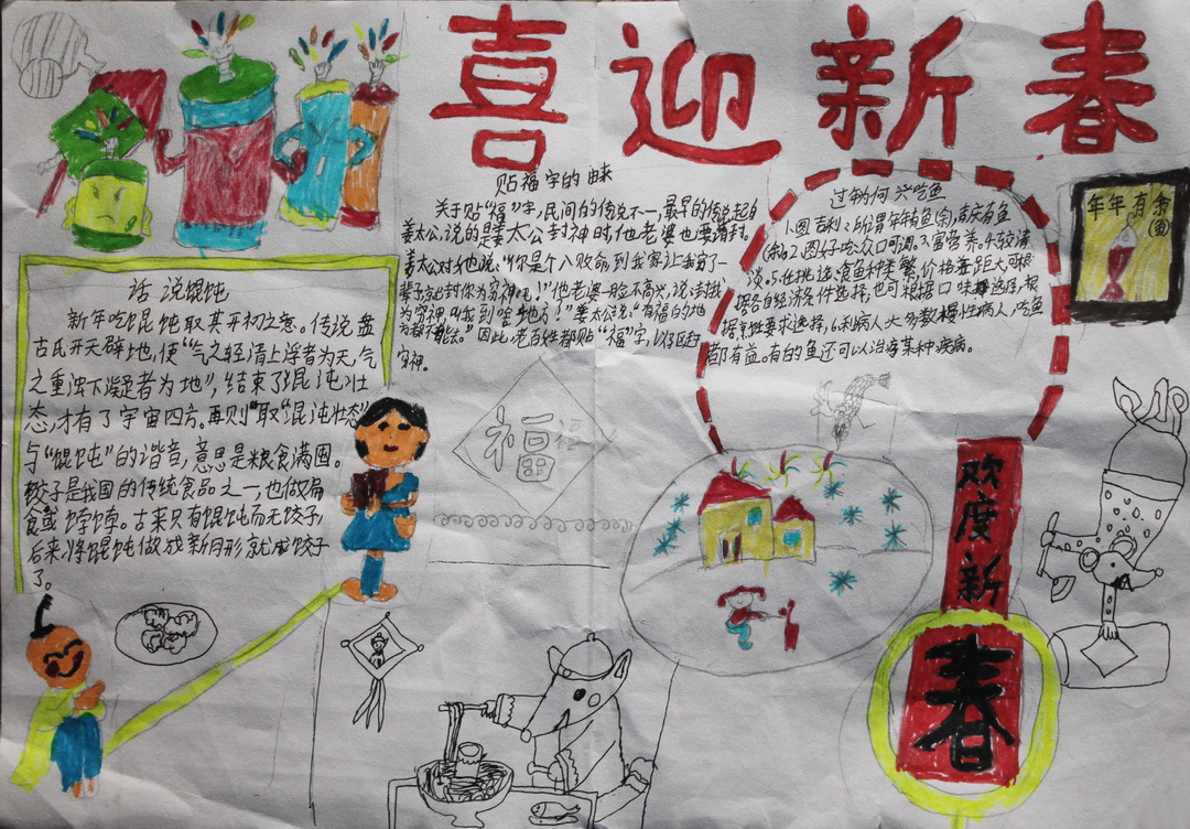 一年级春节手抄报图画