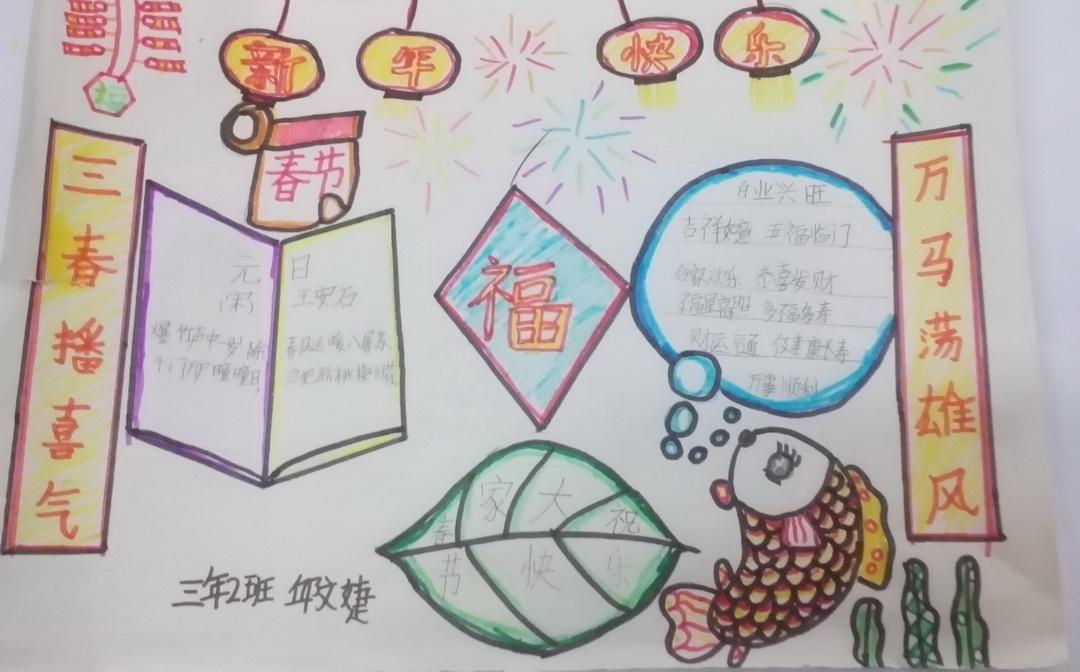 三年级新年快乐手抄报资料