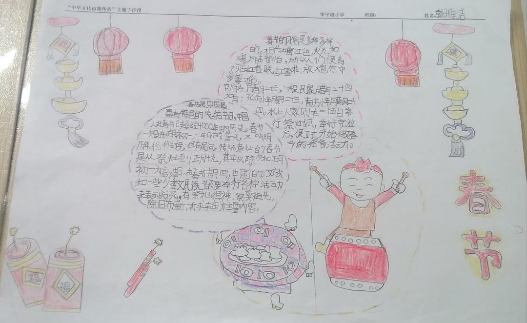 二年级春节手抄报内容