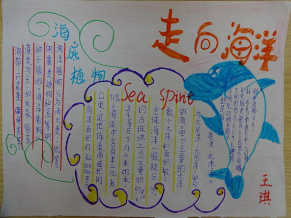 走向海洋手抄报资料: 苍茫蔚蓝的大海中,两只海豚互相追逐嬉戏,激起朵朵浪花;远处,一艘帆船迎风启航;空中,海鸥勇敢的在海面上翻旋。   《走向海洋》顾名思义是一本与海洋有关的书。海洋是生命的摇篮,是文明的起源,是蓝色的宝藏,海洋是人类生存和持续发展的最后空间,也是人类最终的归宿。让我们团结起来,合理开发海洋资源,争做环境的保护者!