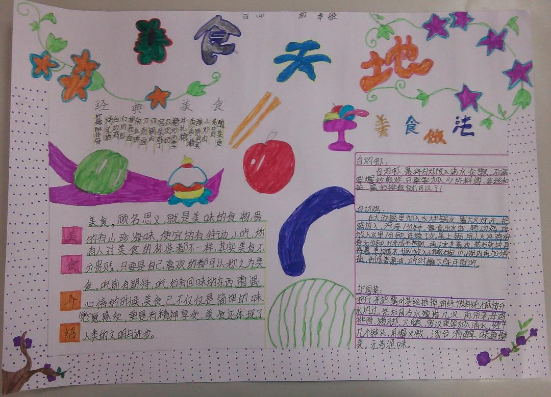 小学四年级美食手抄报