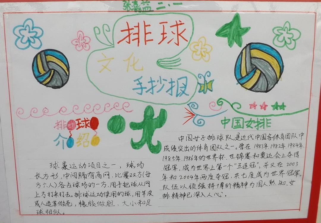 小学二年级排球文化手抄报
