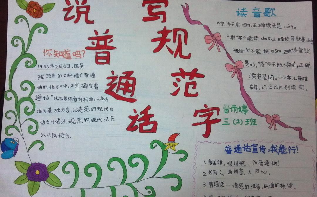 说普通话 写规范字手抄报版面设计图