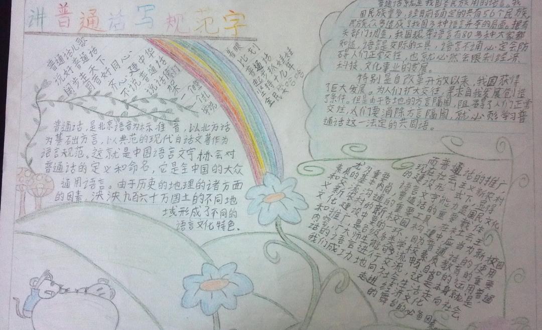 说普通话 写规范字手抄报资料