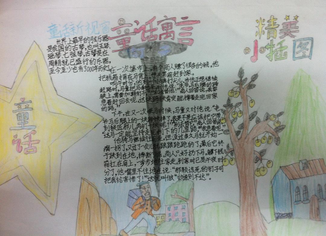 漂亮的童话主题手抄报作品-我的童话世界 - 5068儿童网