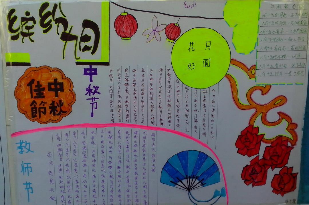 中秋节与教师节手抄报图片大全