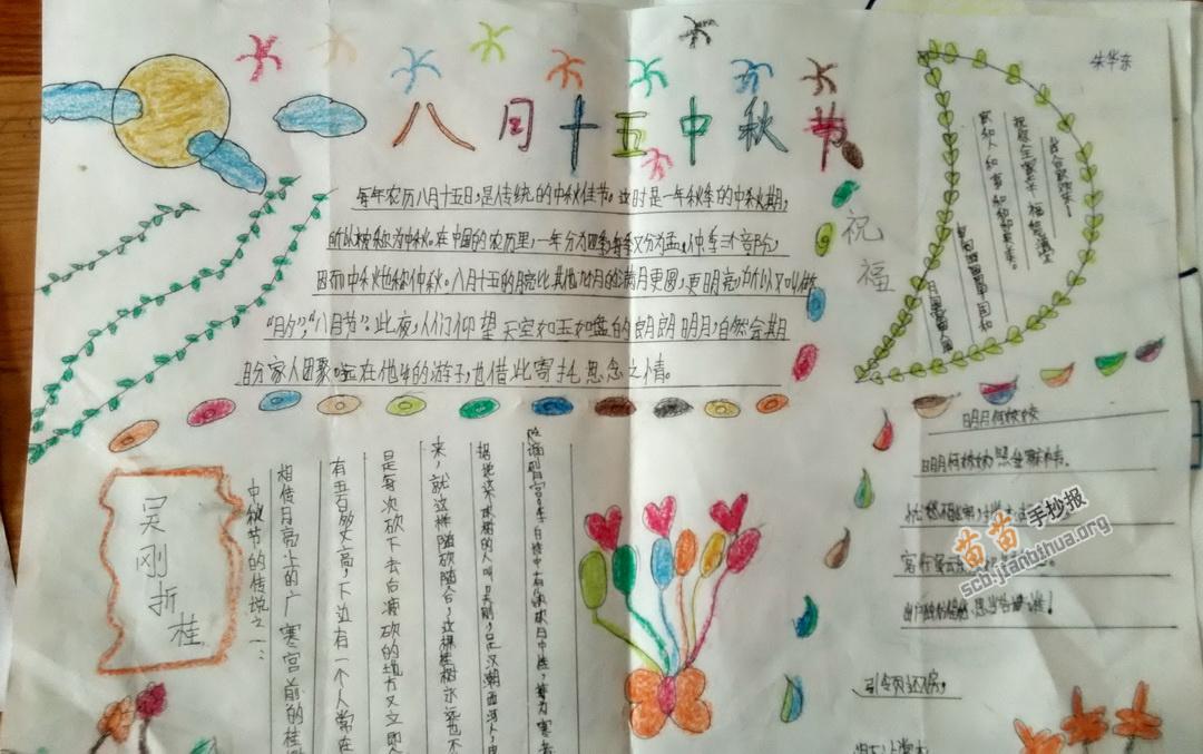 八月十五中秋节手抄报图片,内容