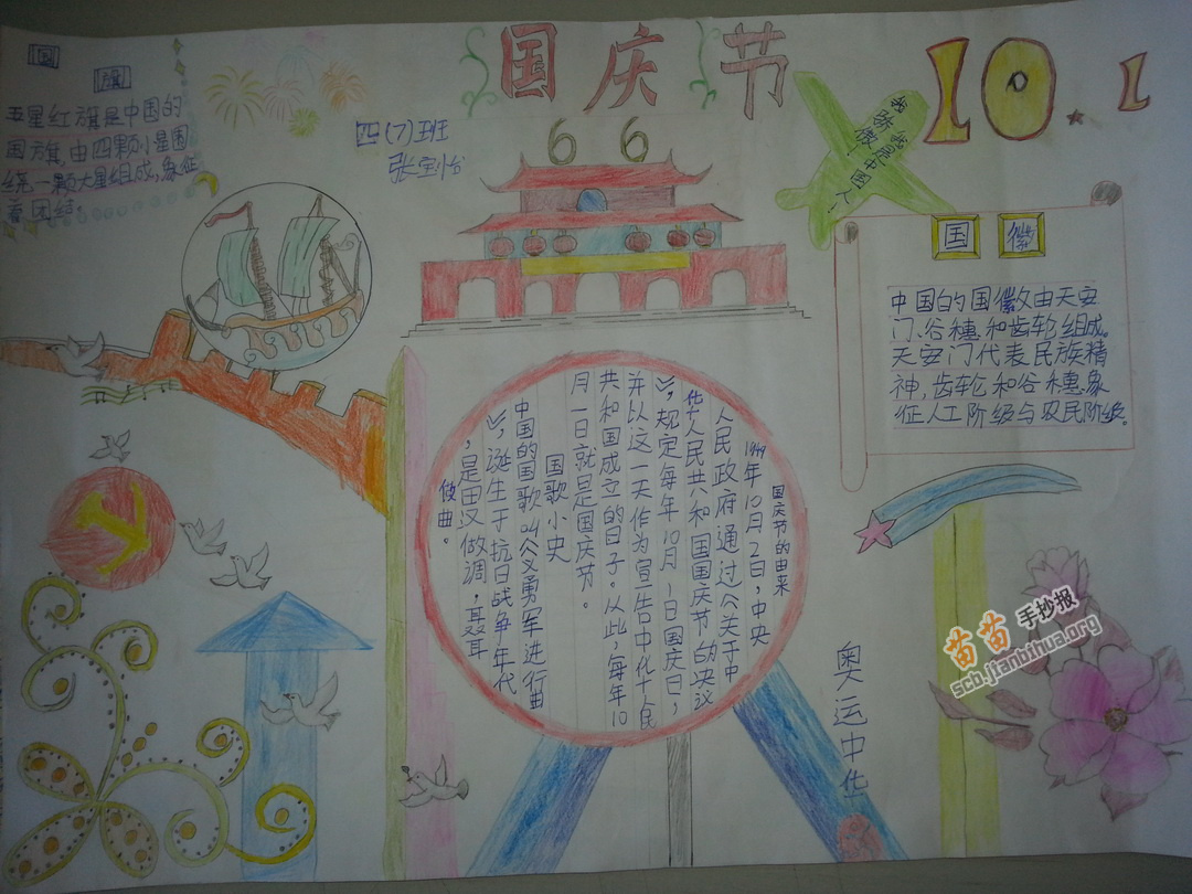 小学四年级国庆节手抄报