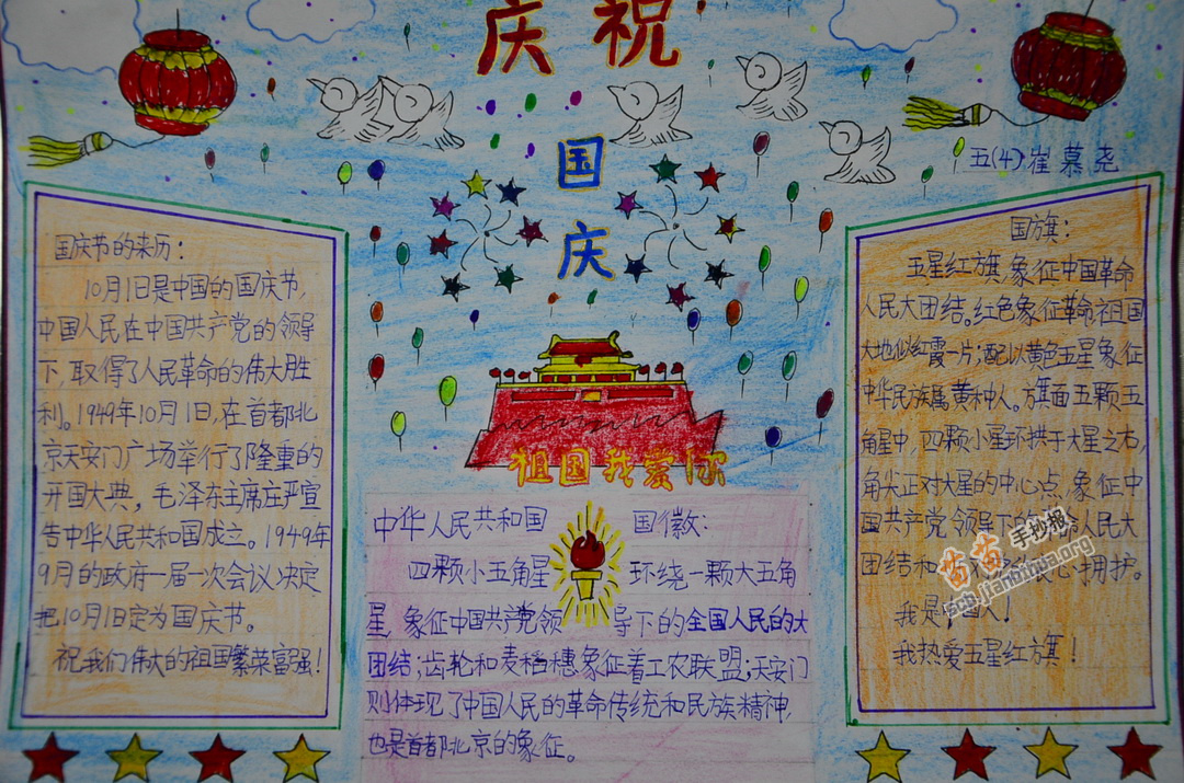 国庆的确立手抄报内容: 1949年9月21日,中国人民政治协商会议第一届全体会议上,民进首席代表马叙伦在全体会议上发言,表示用最大的努力,从事于经济建设与文化建设,共同建立光辉灿烂的中华人民共和国。 1949年10月9日,中国人民政治协商会议第一届全国委员会召开第一次会议。许广平委员发言:马叙伦委员请假不能来,他托我来说,中华人民共和国的成立,应有国庆日,所以希望本会决定把10月1日定为国庆日。毛泽东主席(在这次会议上当选政协第一届全国委员会主席)说:我们应作一提议,向政府建议,由政府决定。