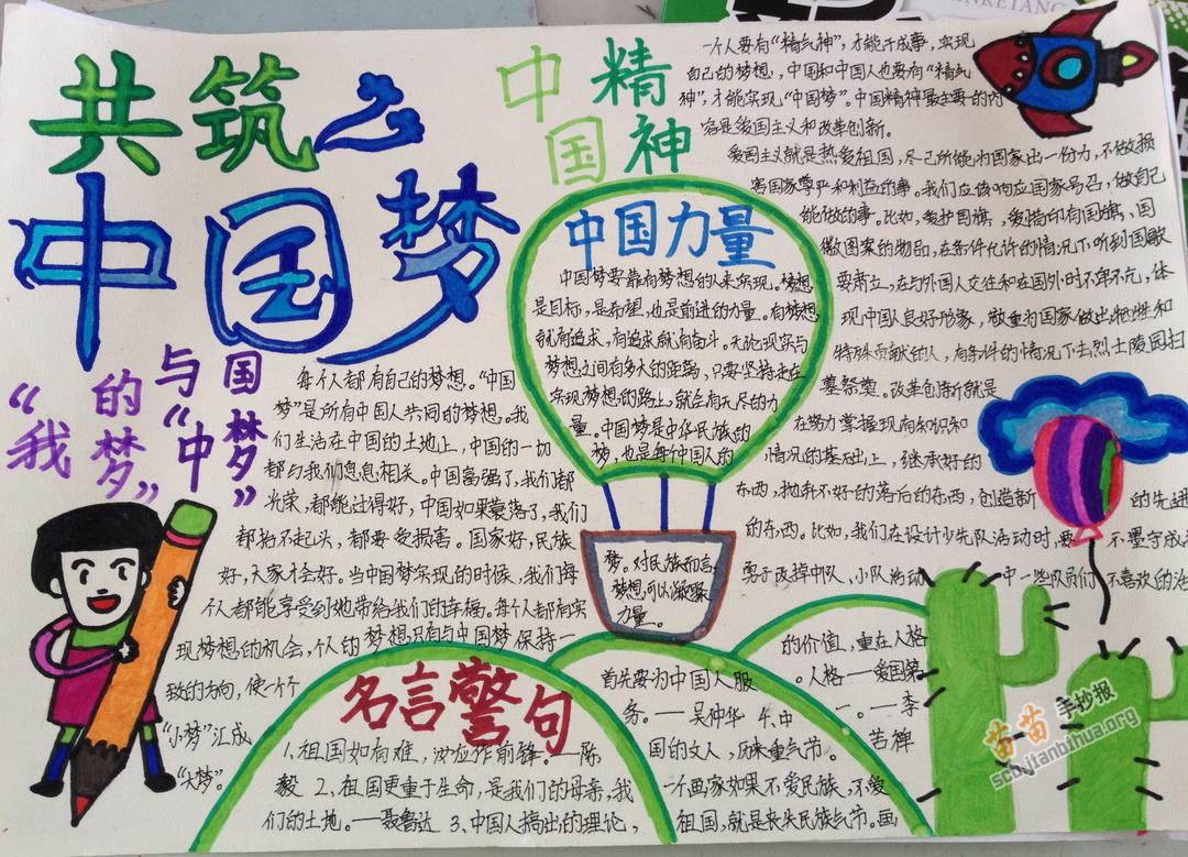 共筑中国梦手抄报版面设计图