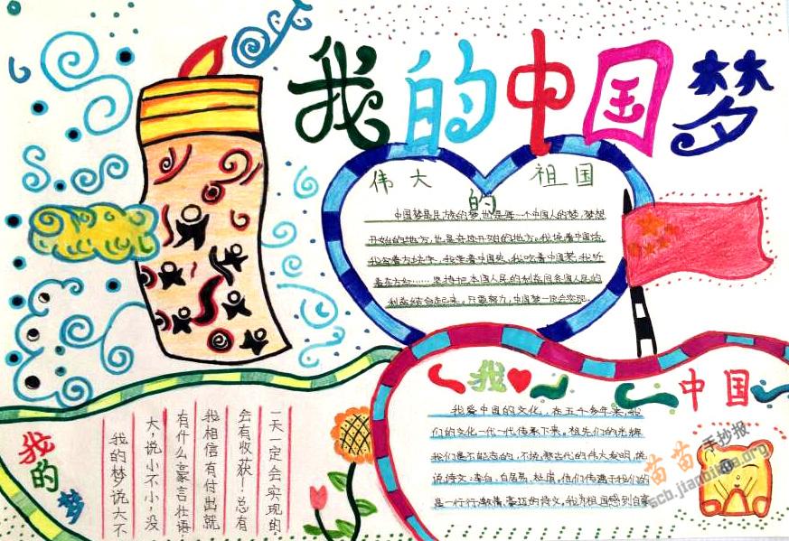 玫瑰国际:我的中国梦手抄报版面设计图
