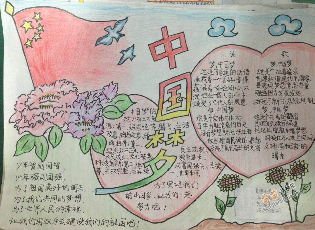 中国梦劳动美小学生手抄报