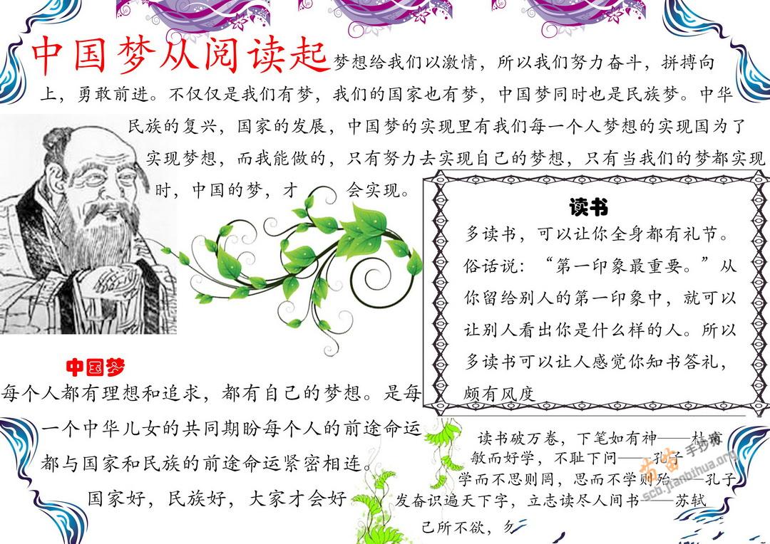 苗苗手抄报 中国梦手抄报 >> 正文内容   中国梦 从阅读启航手抄报