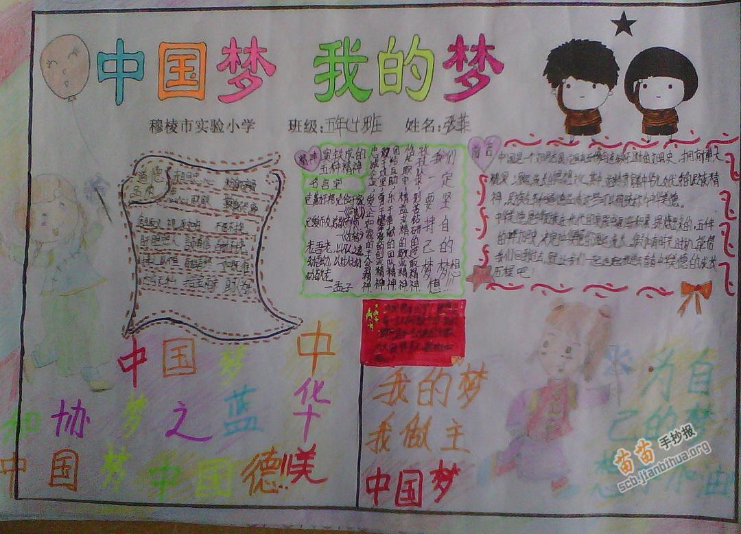 五年级中国梦我的梦手抄报图片