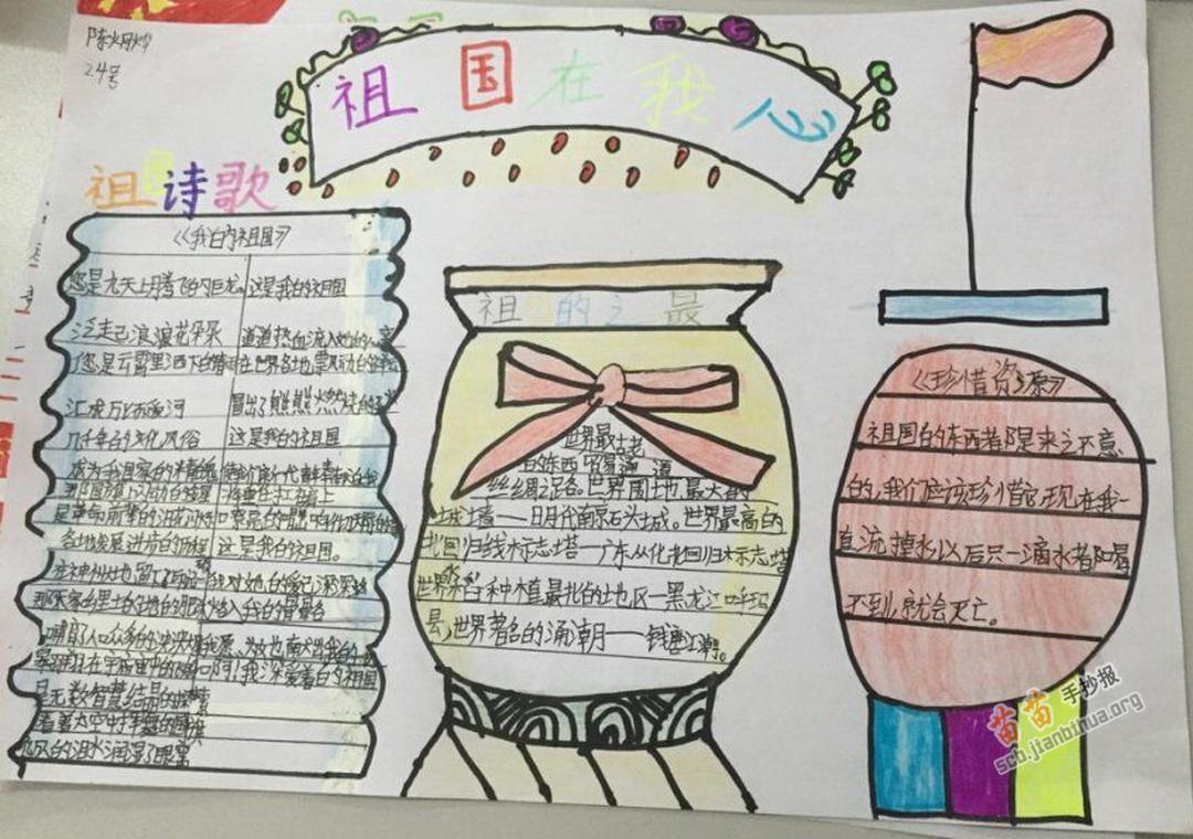 小学三年级祖国在我心手抄报