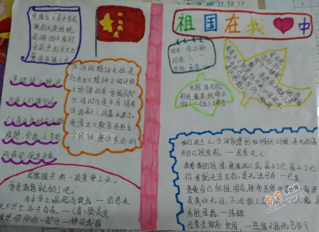 祖国在我心中手抄报资料: 中国具有悠久的历史文化。比如唐诗宋词,伟大的四大发明火药,指南针,印刷术,造纸术。还有每想到这里,我的心中充满着骄傲与自豪。 热爱祖国,是我们每个中国人应有的情感。振兴中华,也是每个中国人应尽的责任。 但中国也有一段屈辱的历史。清政府把香港,澳门等地割给外国,并赔款黄金。