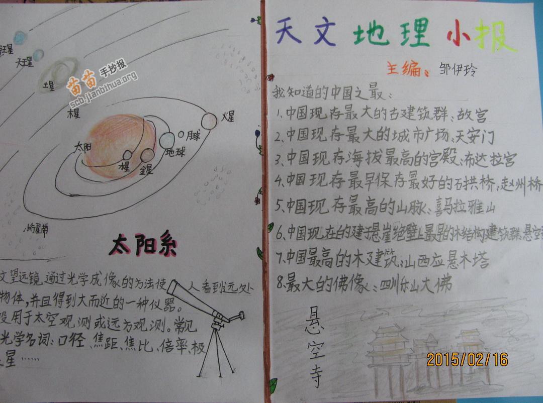 关于天文地理手抄报资料图片