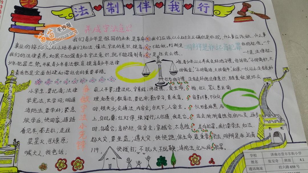 儿童法制手抄报素材简笔画