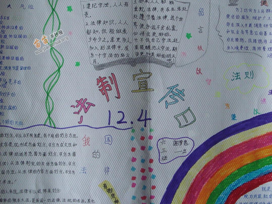 小学六年级法制宣传日手抄报