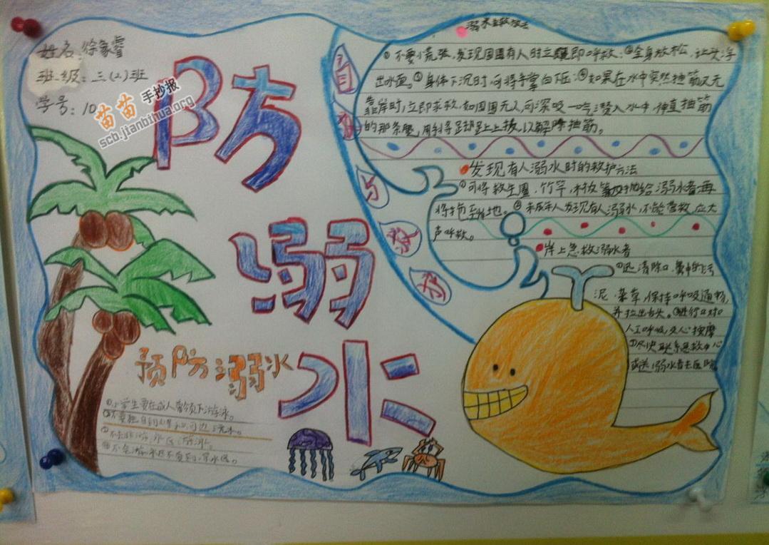 三年级防溺水手抄报图片,内容图片
