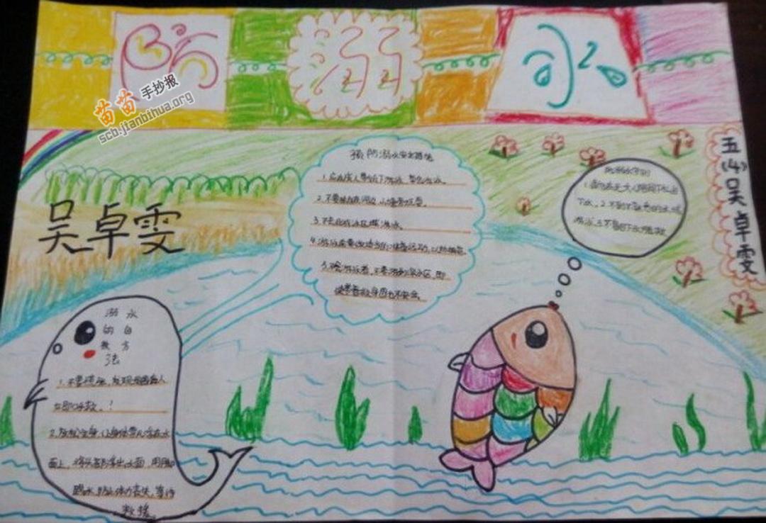 五年级防溺水手抄报图片,内容