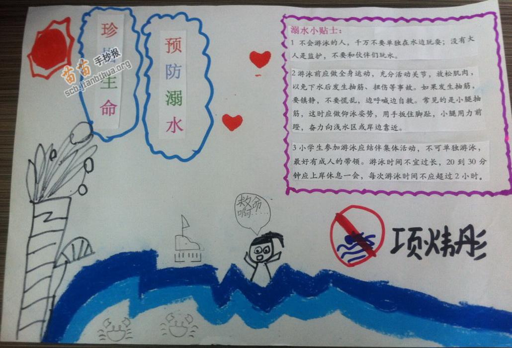 珍惜生命预防溺水手抄报图片,内容