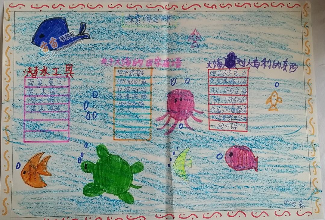 四年级探索海底世界手抄报