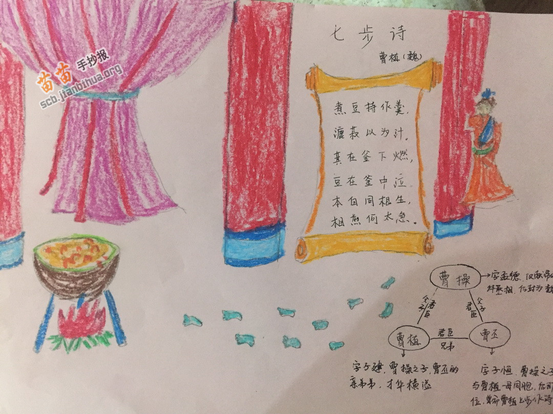 七步诗古诗手抄报图片,资料