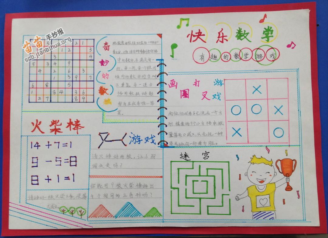 快乐数学手抄报图片大全,资料