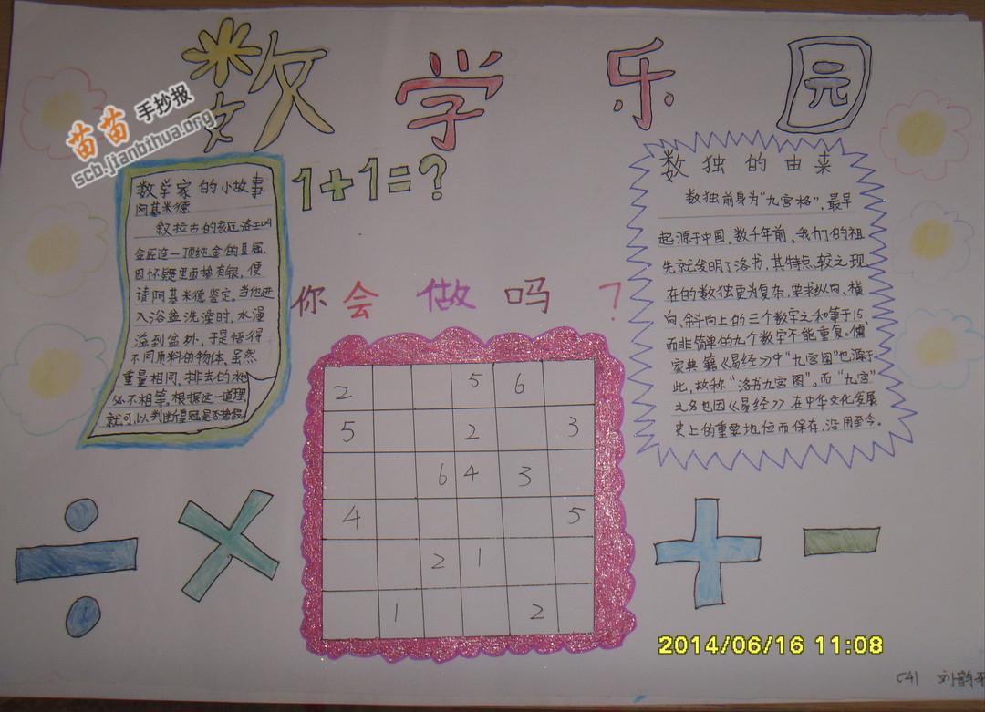 三年级数学乐园手抄报图片大全,内容