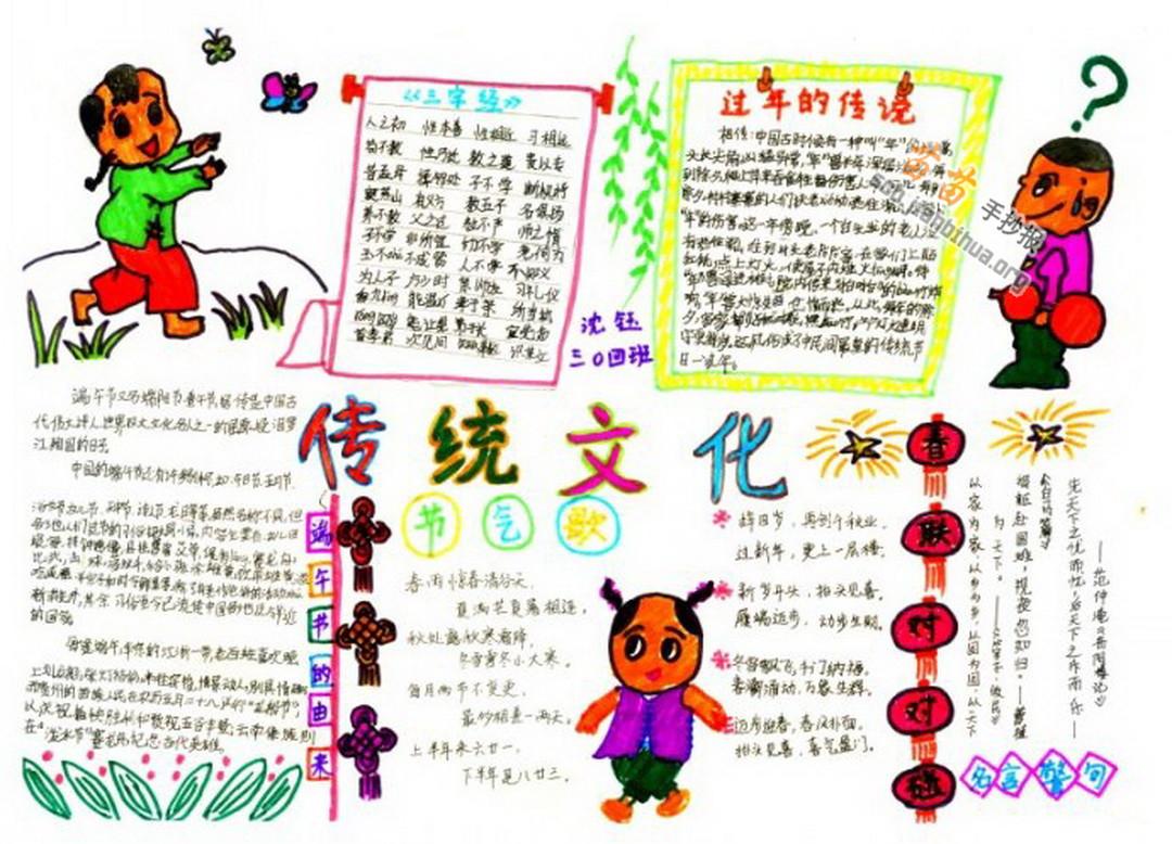 传统文化手抄报内容: 剪纸 中国是个古老的国家,传统文化更是源远流长,丰富多彩。有民间工艺陶瓷,民族艺术戏剧,国画,风俗习惯端午节赛龙舟,元宵节闹花灯等等,不过最值得一提的就是民间艺术剪纸了。 剪纸是中国的民间艺术瑰宝,是民间艺术的一朵奇葩,看了让人羡慕不已,啧啧称赞。剪纸的内容包含着浓浓的生活气息。鸟,虫,鱼,兽,花草树木亭桥风景。这些人们熟悉而又热爱的自然景观成了人们剪纸的花样。每逢过年过节或喜事临门,人们都要剪一些福、喜、寿等贴在窗户上,门上来表示庆贺。 瞧,这幅剪纸作品多有趣呀。一只穿