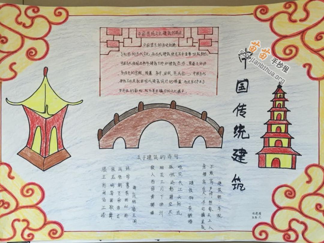 中国传统建筑手抄报图片,内容