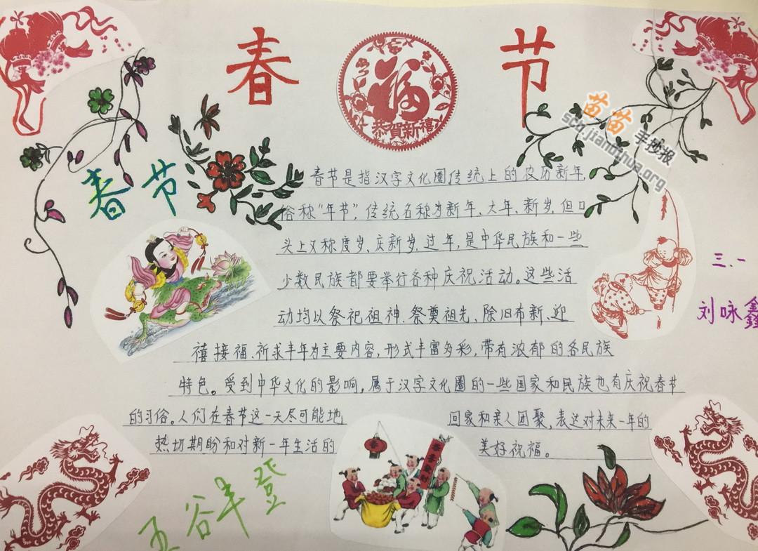 春节手抄报_春节手抄 报图片简单图片