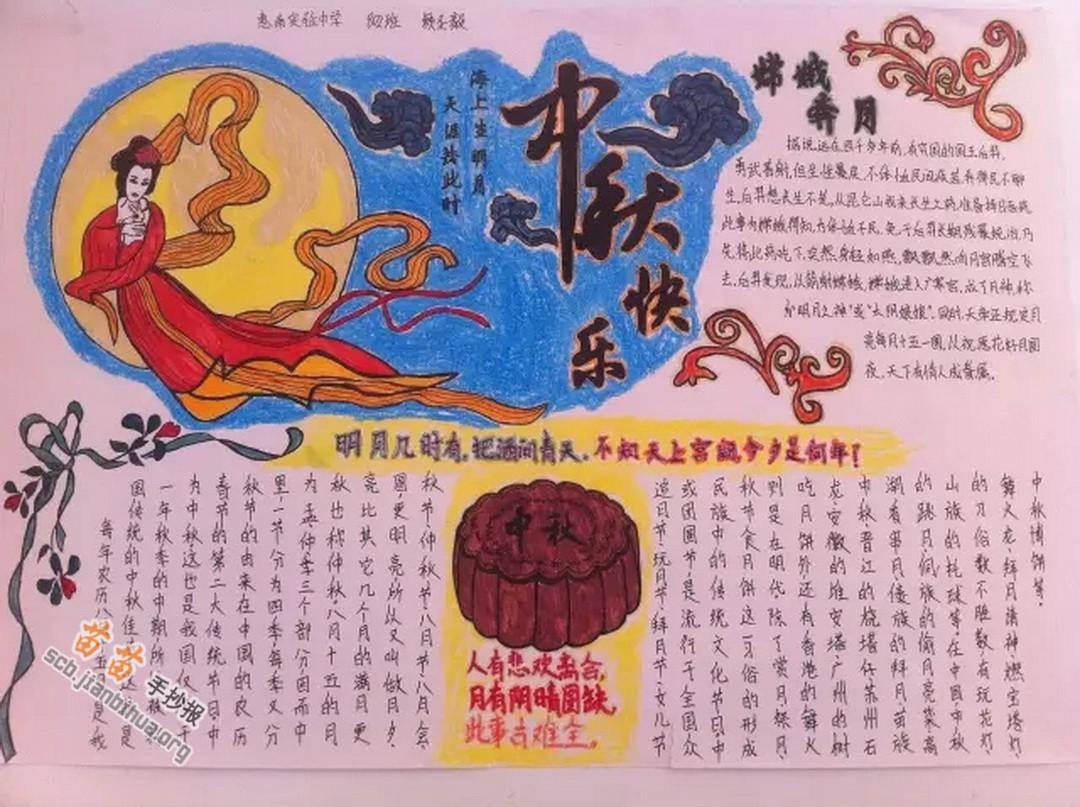 中秋节快乐手抄报图片