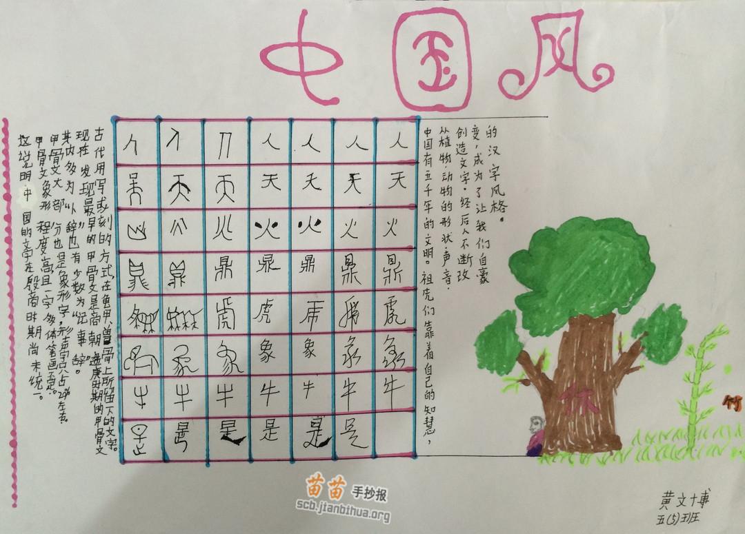 中国风汉字手抄报图片,资料