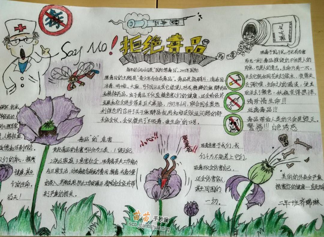 小学生拒绝毒品手抄报图片,内容