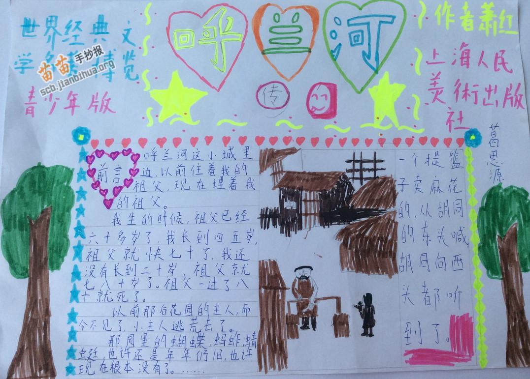 呼兰河传名著手抄报资料: 《双桅船名家经典读本(中国卷):《呼兰河传》是萧红最具代表性的作品。它以作者的童年回忆为引线,描绘了上世纪20年代东北小城呼兰的种种人和事:不断给人带来灾难的东二道街上的大泥坑;小城的精神盛举跳大绳、唱秧歌、放河灯、野台子戏、四月十八娘报庙会;令人心碎的小团圆媳妇的惨死;有二伯的不幸遭遇;冯歪嘴子一家的艰辛生活作品通过追忆家乡的各种人物和生活画面,以更加成熟的艺术笔触,写出作者记忆中的家乡,一个北方小城镇的单调和美丽、人民的善良与愚昧。小说的风俗画面并不仅为了增加一点