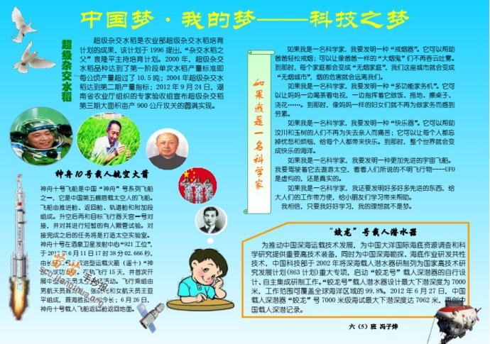 中国梦 我的梦电子手抄报图片大全,资料