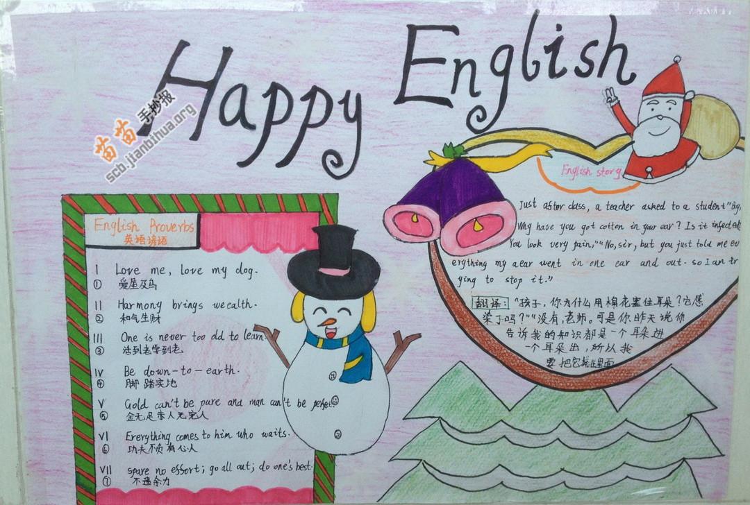 Happy English快乐英语手抄报图片