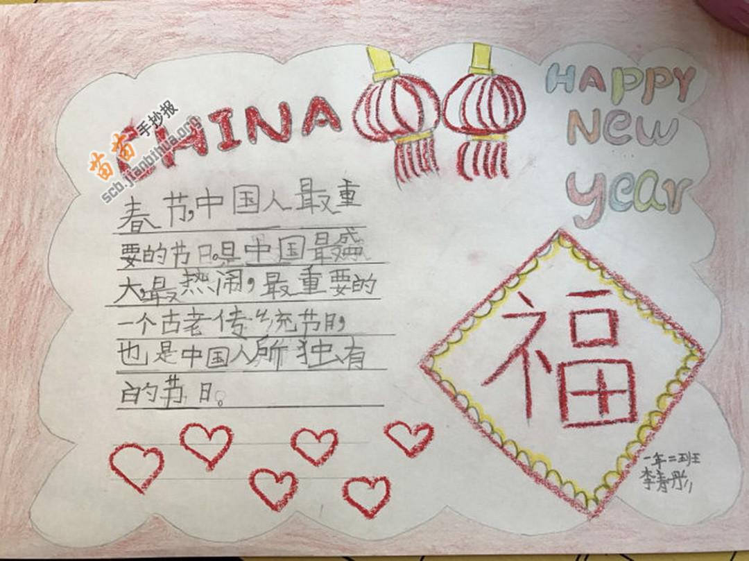 Happy New Year新年快乐手抄报简单又漂亮图片