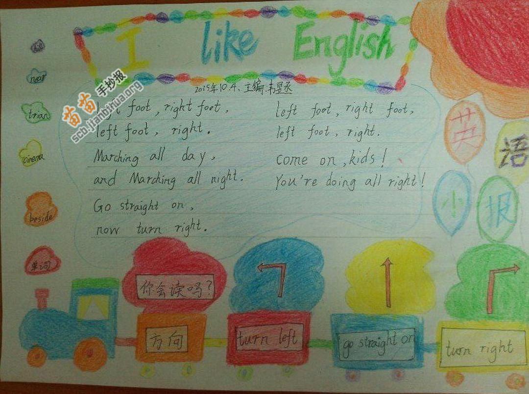 I Like English我喜欢英语手抄报图片