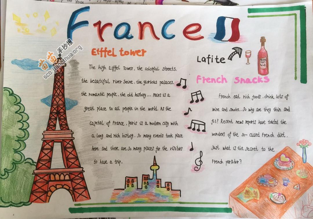 关于france法国的英语手抄报图片,内容