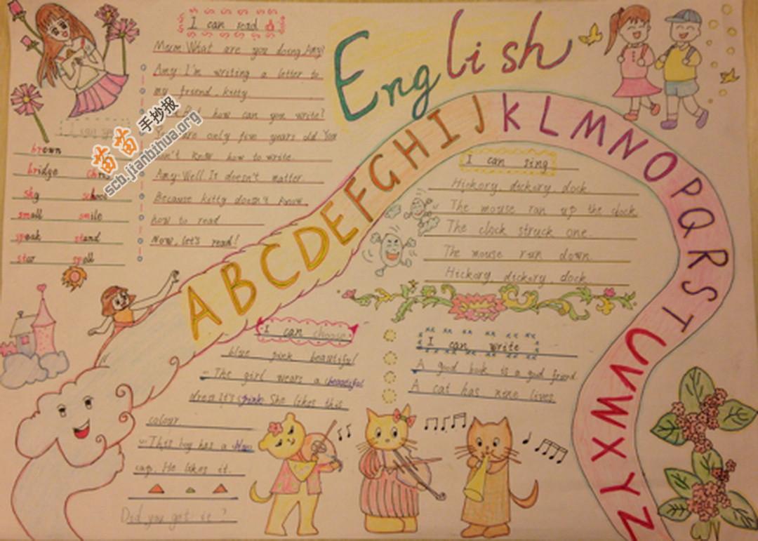 五年级英语手抄报图片大全,内容
