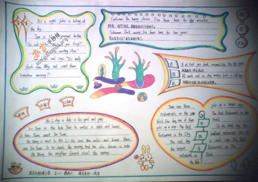 四年級英語手抄報圖片大全,內容