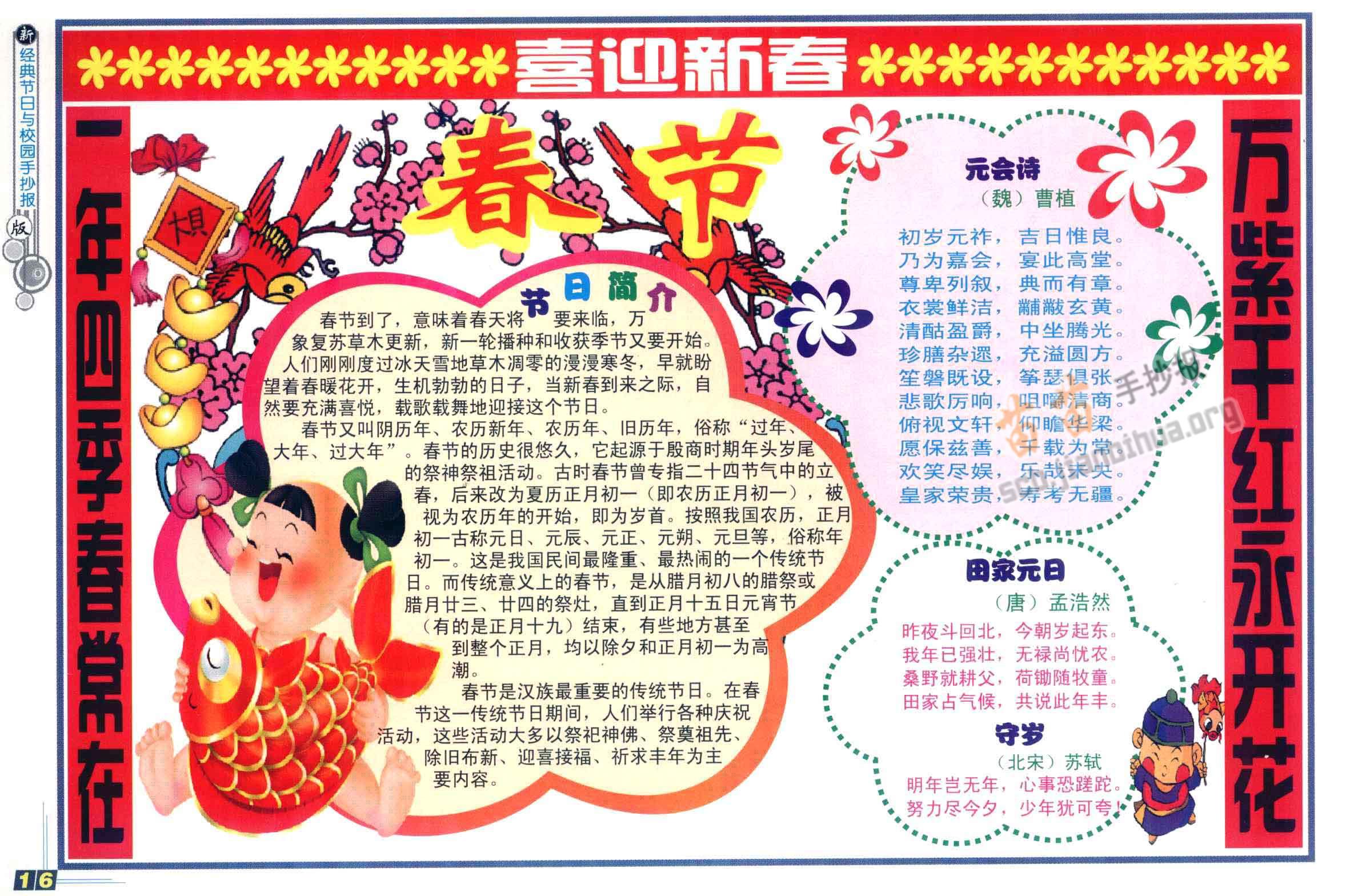 春节手抄报简单又漂亮,内容资料