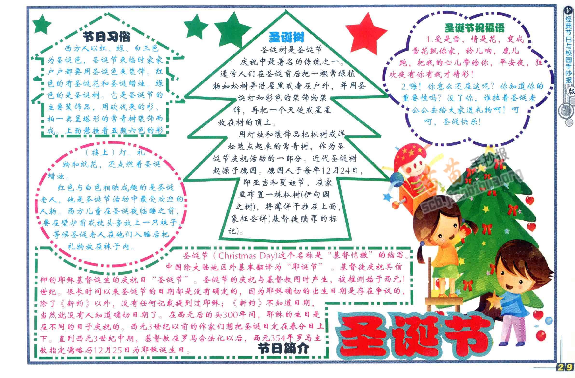 圣诞节手抄报简单又漂亮图片、内容