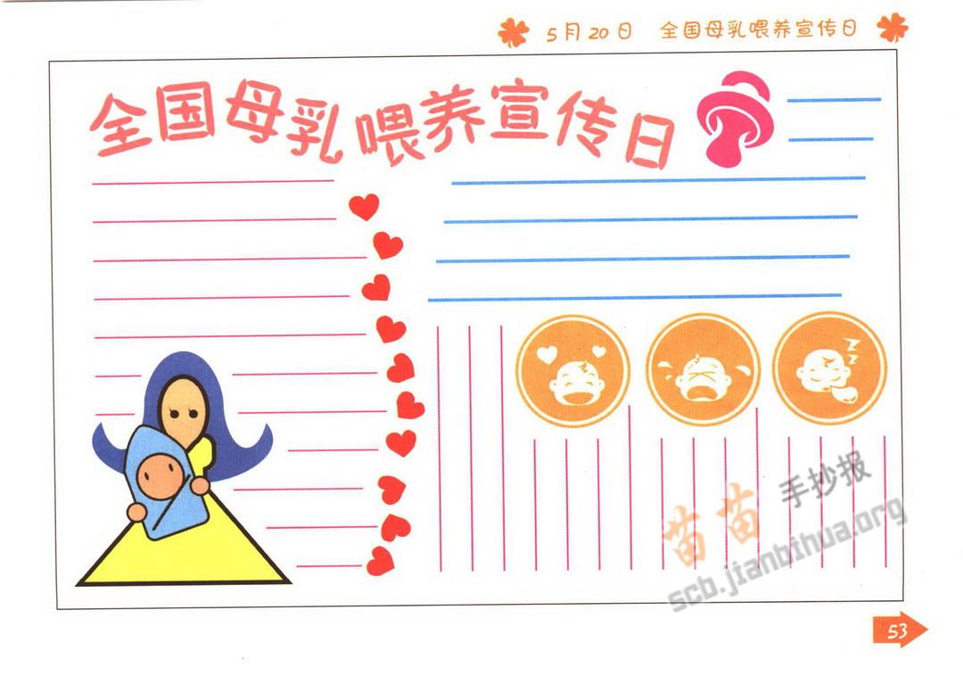 全国母乳喂养宣传日手抄报图片