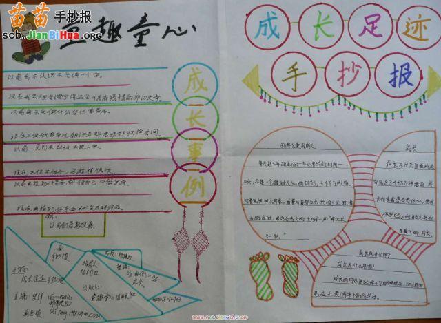 小学二年级春节手抄报_成长足迹手抄报