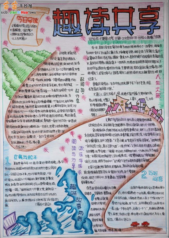 小学生阅读手抄报版面设计图